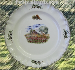 LOUIS XV MODEL PLATE POPPYS AND LITTLE FARMHOUSE DECORATION