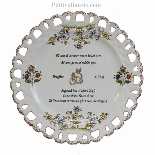 GOLD WEDDING PLATE SUNFLOWER MODEL WITH CUSTOMIZED POEM