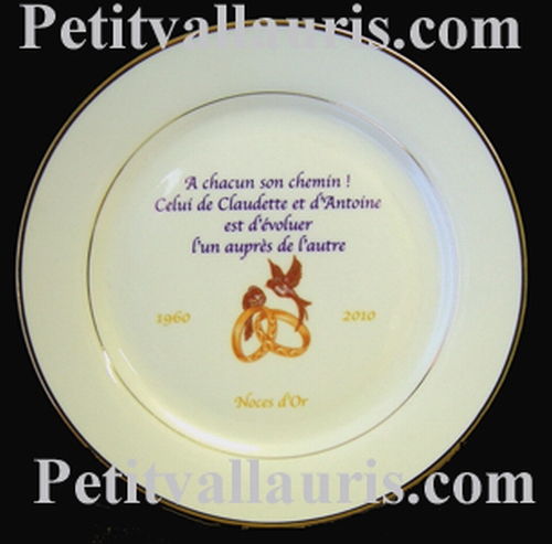 CUSTOMIZED MARRIAGE PLATE PORCELAIN MODEL GOLD COLOR BORDER