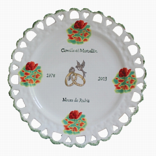 WEDDING MARRIAGE CERAMIC PLATE WITH POPPIES DECORATION