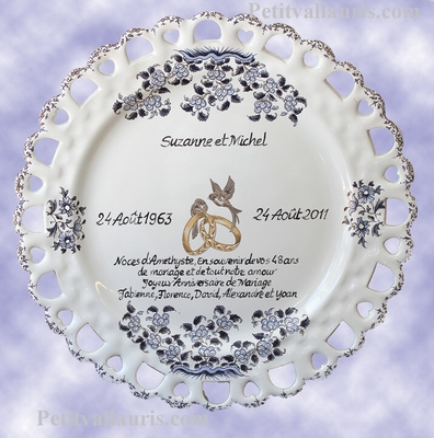 MARRIAGE PLATE SUNFLOWER MODEL BLUE WITH WEDDING POEM