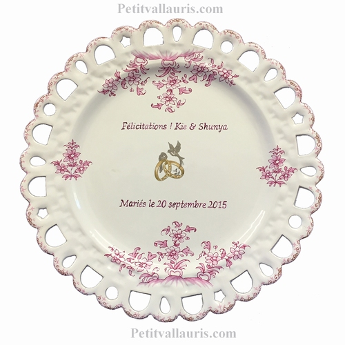 FAIENCE MARRIAGE PLATE SUNFLOWER MODEL (Pink text and color)