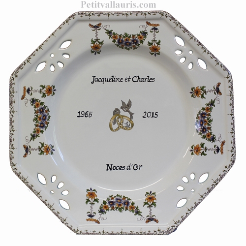 MARRIAGE PLATE OCTAGONAL MODEL OLD MOUSTIERS TRADITION DECOR