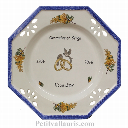 MARRIAGE PLATE OCTAGONAL MODEL MIMOSAS DECORATION