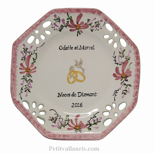 CERAMIC MARRIAGE PLATE OCTAGONAL MODEL ROSE FLOWERS