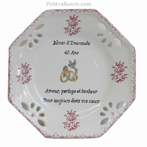 MARRIAGE PLATE OCTAGONAL SMALL SIZE MODEL PINK COLOR TB