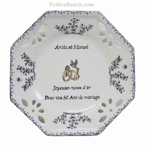MARRIAGE PLATE OCTAGONAL SMALL SIZE MODEL BLUE COLOR