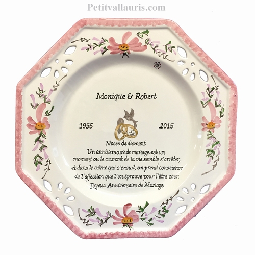 MEMORY MARRIAGE PLATE OCTAGONAL MODEL PINK FLOWERS WITH POEM
