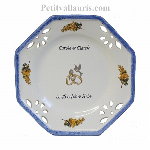 MARRIAGE PLATE OCTAGONAL LITTLE MODEL MIMOSAS DECORATION
