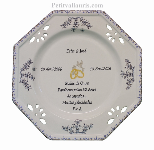 CUSTOMIZED MARRIAGE PLATE MEMORY WITH CITATION BLUE COLOR