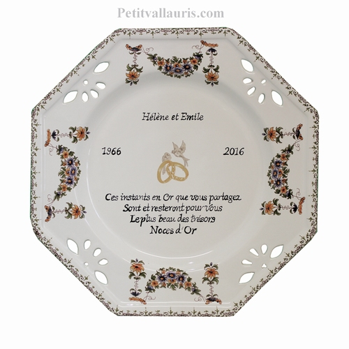 CERAMIC MARRIAGE PLATE OCTAGONAL MODEL WITH GOLD POEM