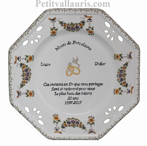 CERAMIC MARRIAGE PLATE OCTAGONAL MODEL WITH PORCELAINE POEM