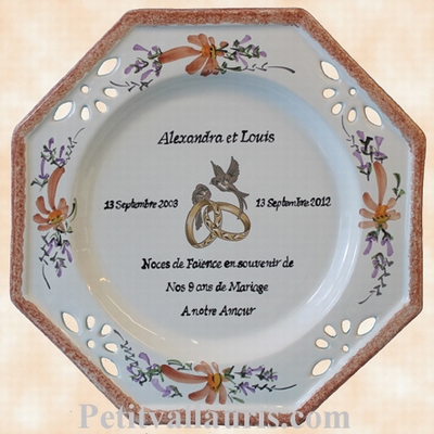 MARRIAGE PLATE MODEL SALMON COLOR FLOWERS FAIENCE WEDDING