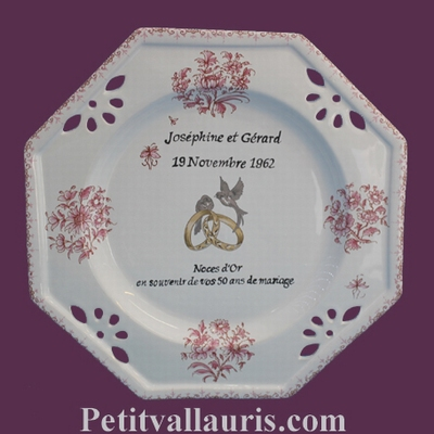 MARRIAGE PLATE MODEL PINK OLD MOUSTIERS DECOR + CITATION