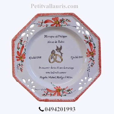 MARRIAGE PLATE OCTAGONAL MODEL RED FLOWERS WITH RUBIS POEM