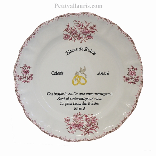 PINK COLOR MARRIAGE STYLE PLATE MODEL WITH POEM RUBY WEDDING