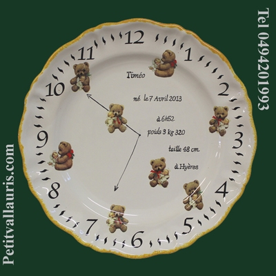 CERAMIC CUSTOMIZED BIRTH PLATE BEAR CUB DECORATION (CLOCK)