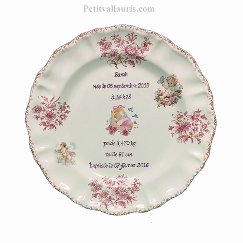 PLATE LOUIS XV MODEL CUSTOMIZED BIRTDAY MEMORY PINK DECOR