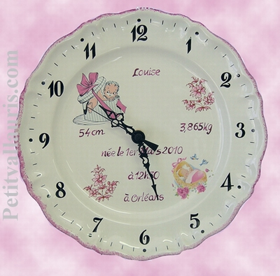 CUSTOMIZED PLATE-CLOCK FOR BIRTHDAY MEMORY GIRL BIRTH
