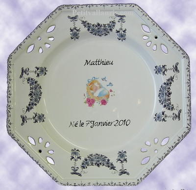CERAMIC CUSTOMIZED BIRTH BOY OCTOGONAL PLATE LARDGE MODEL