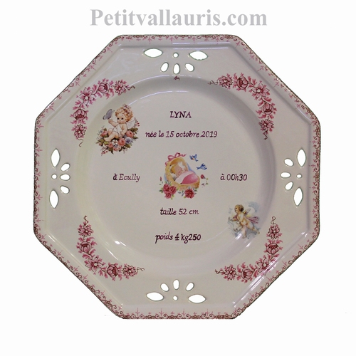 BIRTH GIRL OCTOGONAL PLATE LARDGE MODEL ANGEL DECORATION