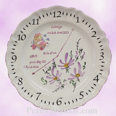 CUSTOMIZED BIRTH MEMORY PLATE PARMA FLOWERED DECOR