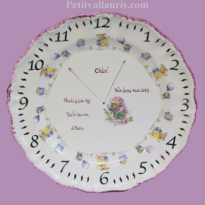 CUSTOMIZED GIRL BIRTH PLATE MEMORY LITTLE MOUSE DECORATION