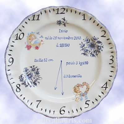CUSTOMIZED FAIENCE PLATE FOR MEMORY BOY BIRTH DECORATION