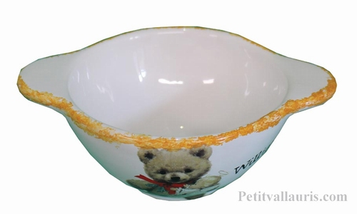 BOWL WITH HANDLES TEDDY-BEAR DECORATION WITH CUSTOMIZE TEXT