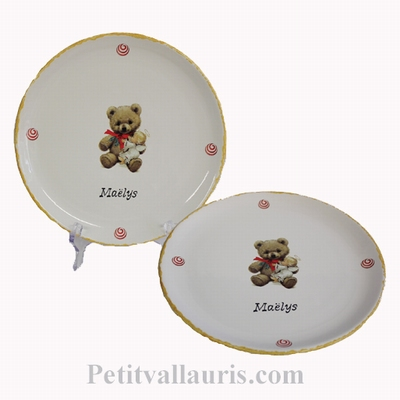 CERAMIC PLATE TEDDY-BEAR DECORATION WITH CUSTOMIZE TEXT