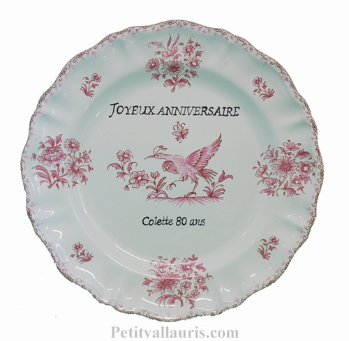 CUSTOMIZED PLATE MODEL PINK OLD MOUSTIERS WITH INSCRIPTION