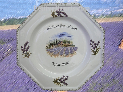 PROVENCE AND LAVANDER PLATE DECORATIVE + CUSTOMIZED TEXT