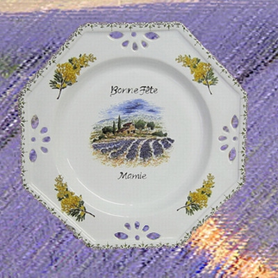 OCTOGONAL PROVENCE PLATE DECORATIVE WITH CUSTOMIZED TEXT