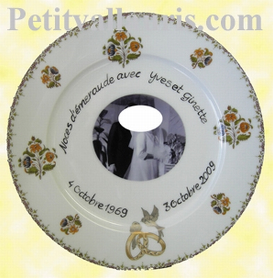 BIRTHDAY MARRIAGE PLATE PORCELAIN POLY MODEL + PHOTO INSIDE