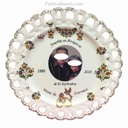 PORCELAIN MARRIAGE PLATE SUNFLOWER MODEL WITH PHOTO INSIDE
