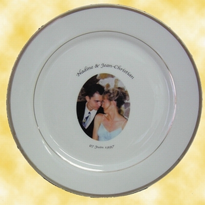 ASSIETTE DE MARIAGE EN PORCELAINE FILET OR AVEC PHOTO