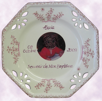 CUSTOMIZED PLATE OCTAGONAL GIRL MODEL BAPTISM WITH PHOTO