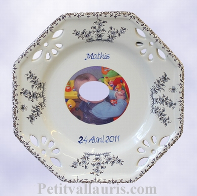 CUSTOMIZED PLATE OCTAGONAL BOY MODEL BAPTISM WITH PHOTO