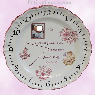 FAIENCE PLATE MODEL CUSTOMIZED BABY BIRTDAYS MEMORY
