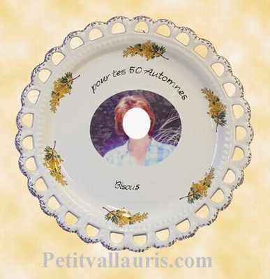 MIMOSA DECOR BIRTHDAY PLATE SUNFLOWER MODEL WITH FOTO INSIDE