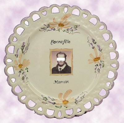 SALMON DECOR BIRTHDAY PLATE SUNFLOWER MODEL WITH FOTO INSIDE