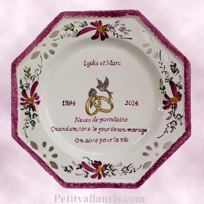 MARRIAGE PLATE OCTAGONAL MODEL PURPLE FLOWERS WITH POEM