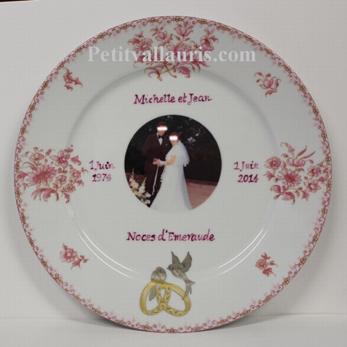 MEMORIAL MARRIAGE PLATE PORCELAIN PINK MODEL + PHOTO INSIDE