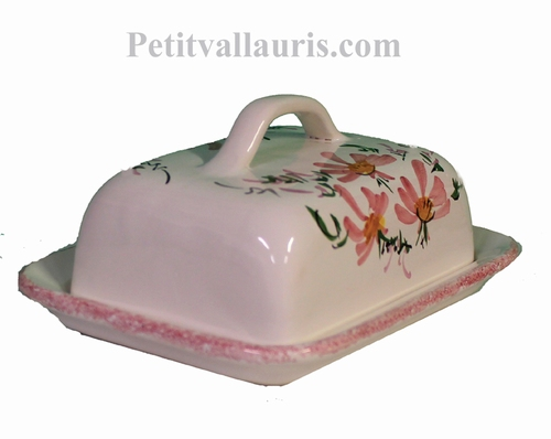 BEURRIER EN FAIENCE DECOR FLEURS ROSES