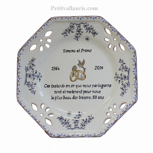 MARRIAGE PLATE SMALL SIZE MODEL BLUE COLOR GOLD WEDDING