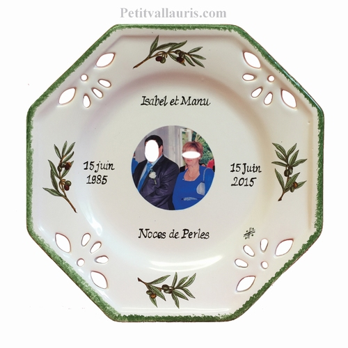 ASSIETTE OCTOGONALE SOUVENIR NOCES AVEC PHOTO DECOR OLIVES