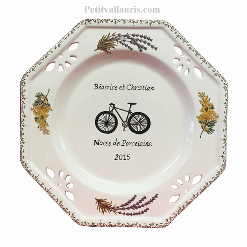 MARRIAGE PLATE OCTAGONAL MODEL BIKE+LAVANDER+MIMOSAS DECOR