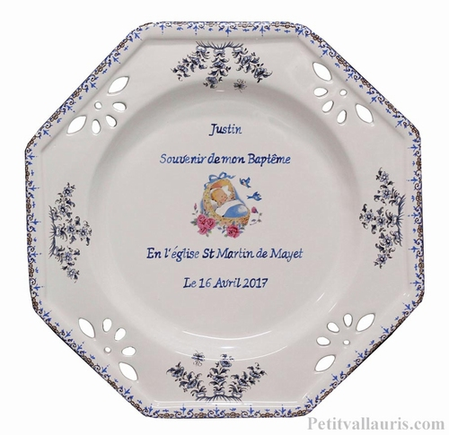 BAPTISM BOY OCTOGONAL PLATE LARDGE MODEL ANGEL DECORATION