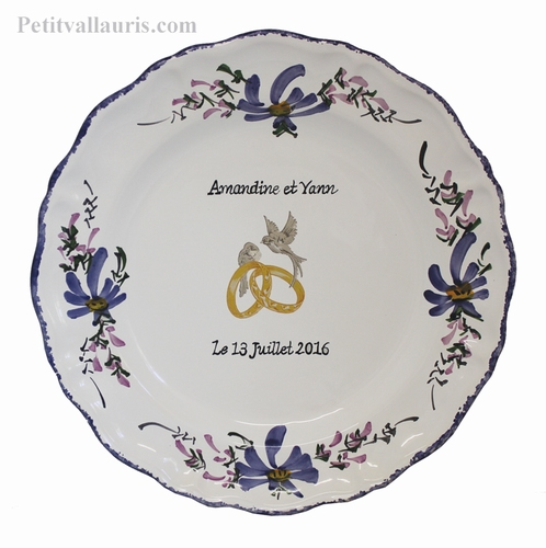 CUSTOMIZED MARRIAGE MEMORY PLATE LOUIS XV MODEL BLUE DECOR