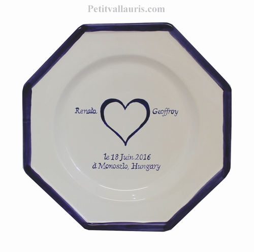 MARRIAGE PLATE OCTAGONAL MODEL WITH BLUE HEART DECOR